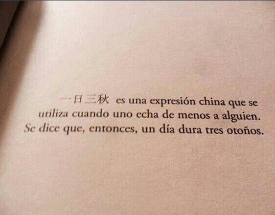 """"""" El 一日三秋 es una expresión china que se utiliza cuando uno echa de menos a alguien. Se dice que, entonces, un día dura tres otoños""""."""